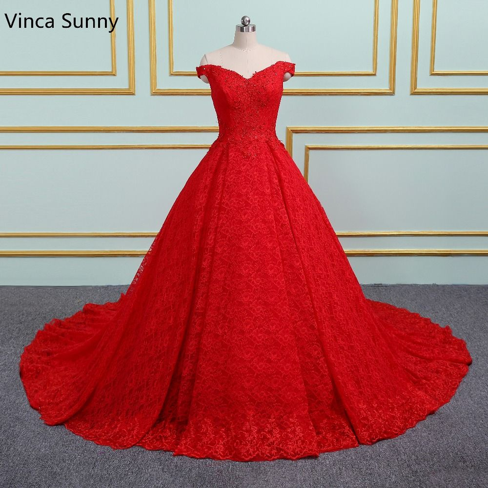 Luxury Princess Red Wedding Dresses 2018 New Ball Gown Sweetheart Lace Appliques Court Train Wedding Bridal Gown
