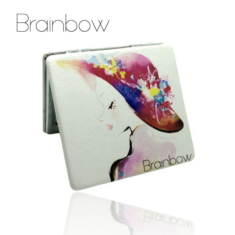 Brainbow PU Metall Spiegel Make-Up Notebook Design Tragbaren Taschenspiegel Bunte Falten Doppel Seiten Personalisierte Kompakte Spiegel
