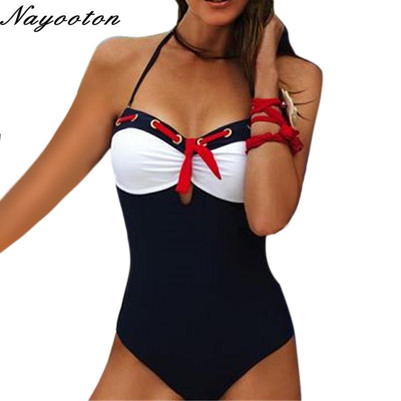 Push up nouveau Rouge Cravate féminin maillots de bain haut à licou maillots de bain restaurer manières antiques une pièce Maillot de bain des femmes monokini D001
