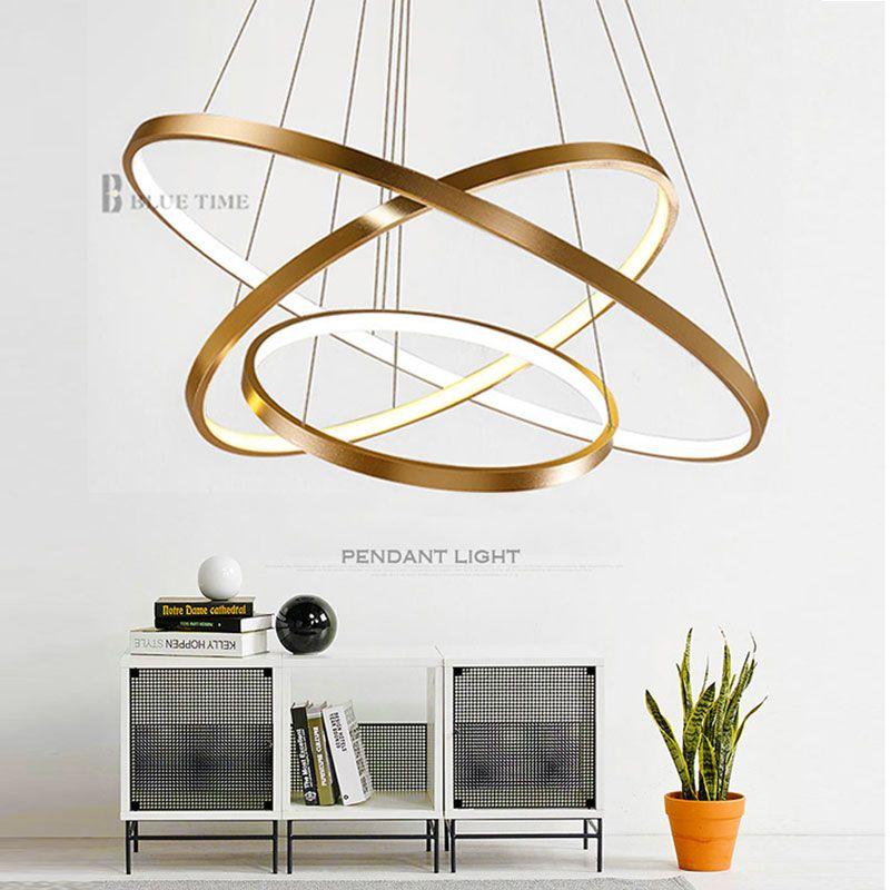 Glod/Noir/Blanc Couleur Moderne lustres cercle anneaux led lustre lumière pour éclairage intérieur AC 85-260 V 40 CM 60 CM 80 CM 100 CM