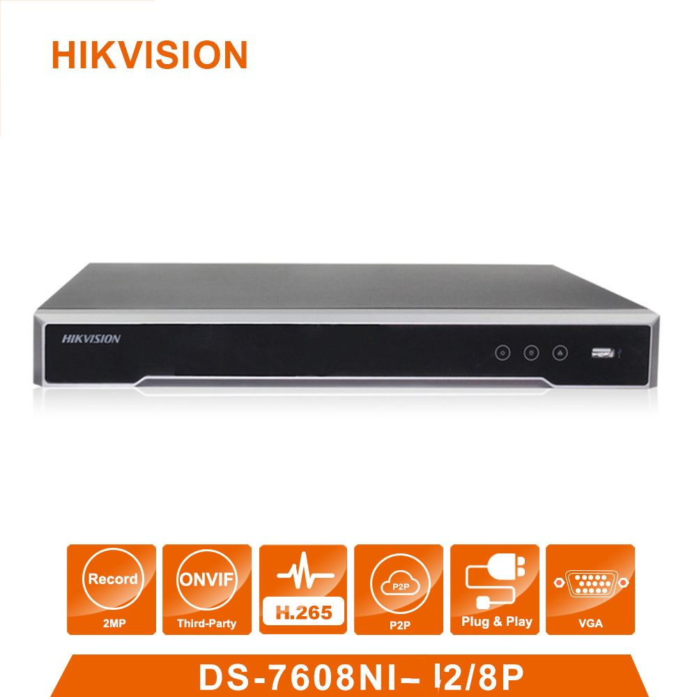 Original Hik vision English Version DS-7608NI-I2/8P 8 POE ports 4K 8ch Cameras plug & play NVR POE 8ch H.265 up to 8MP