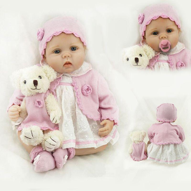 Baby Dolls lebensechte 22 Zoll 55 cm Lächelndes Realistische Weiche Vinyl Wiedergeboren Puppen Geburtstag Weihnachtsgeschenk Juguetes Brinquedos