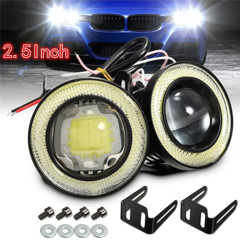 2x Universal 2.5 Inch Projector COB LED Car Fog Light Halo Angel Eyes Rings DRL White Green Amber 12V Road Fog Lampm