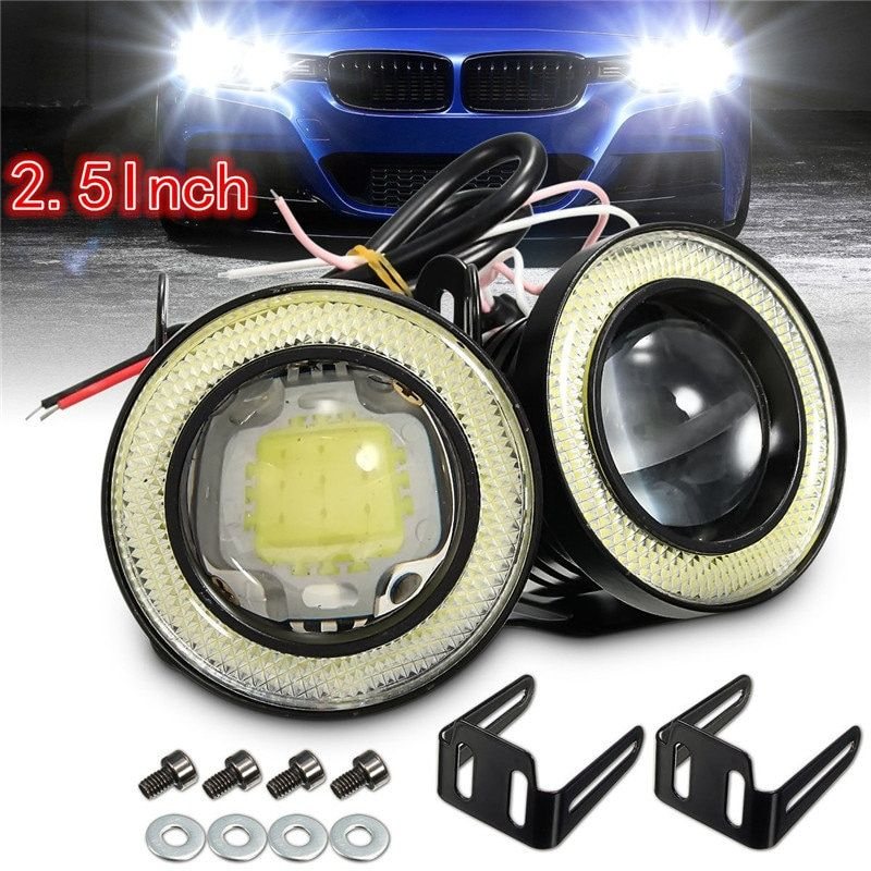 2x Universal 2.5 Inch Projector COB LED Car Fog Light Halo Angel Eyes Rings DRL White Green Amber 12V Road Fog Lampm