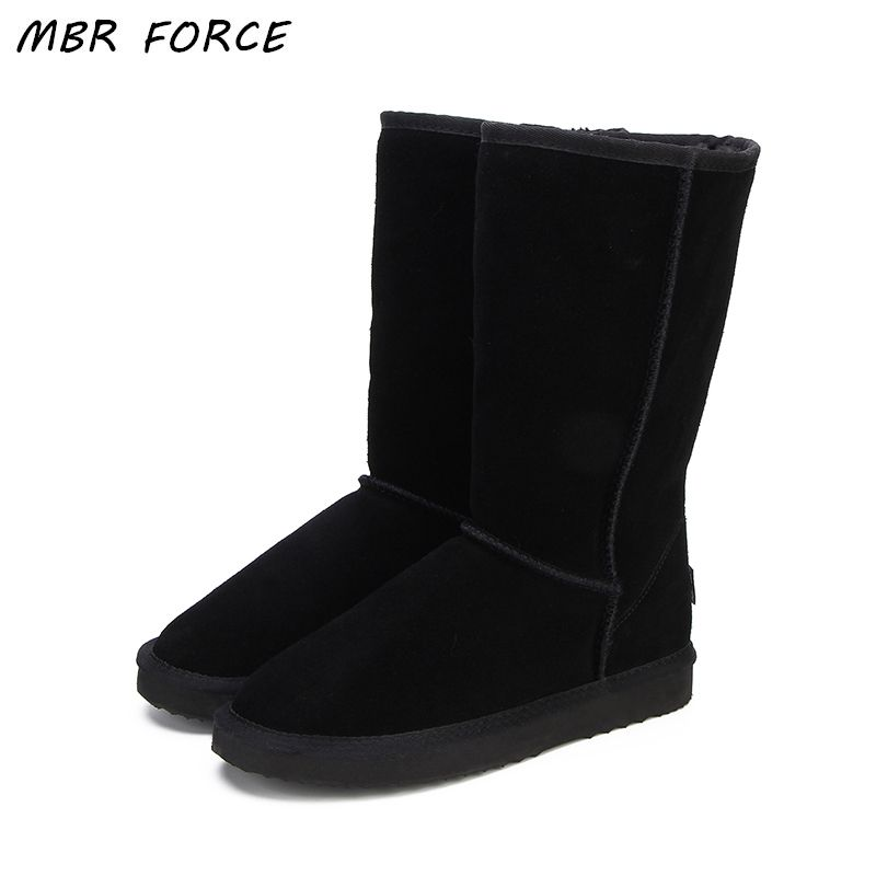 MBR FORCE High Quality UG Snow Boots Women Fashion Genuine Leather Australia Classic Women's High Boot Winter Women Snow Shoes