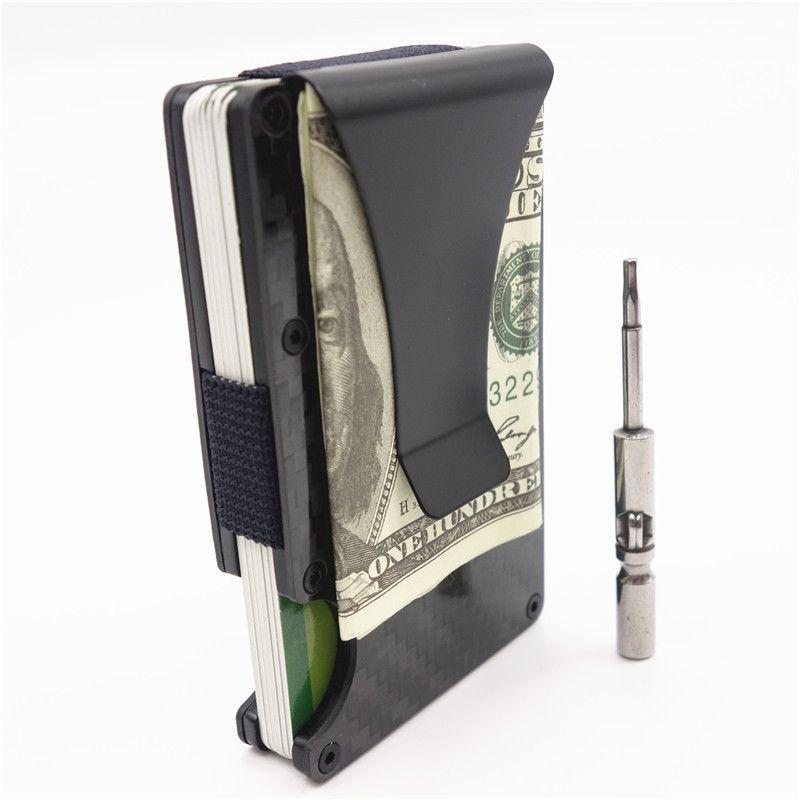 Новинка 2017 года Металл Мини углерода Волокно Для мужчин ID держатель кредитной карты Бизнес визитница RFID кошелек