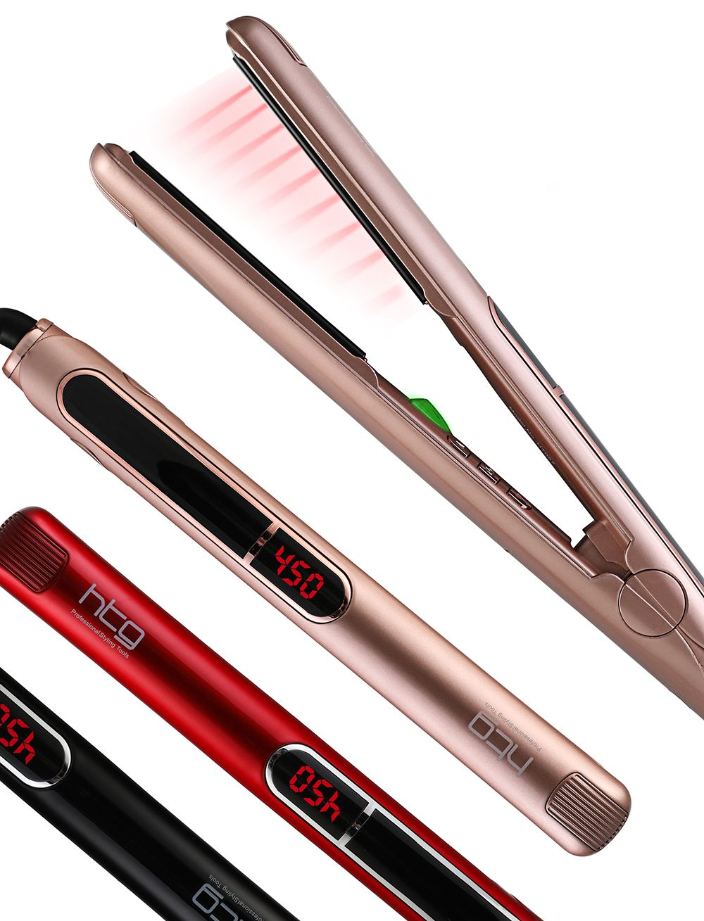 HTG Professional Hair Straightener Hair Flat Iron Negative ION Infrared Hair Straightener Hair straighting Iron LCD Display