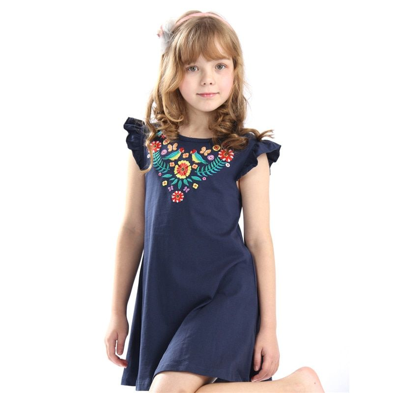 Hot selling baby girls summer embroidery dresses kids top quality cartoon dress with applique some cute birds new designed 2018