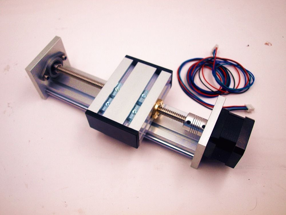 Funssor Z axis Slide rail kit with 12V NEMA17 stepper motor 100-300mm effective stroke TR8 lead screw for CNC Reprap 3D printer