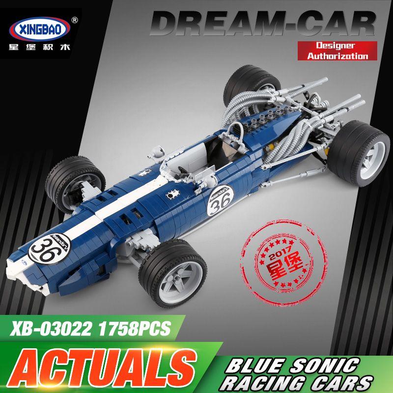 XINGBAO 03022 1758PCS The Blue Racing Car Set Building Blocks Bricks Educational Funny Toys As New Year Gifts For Kids Car Model