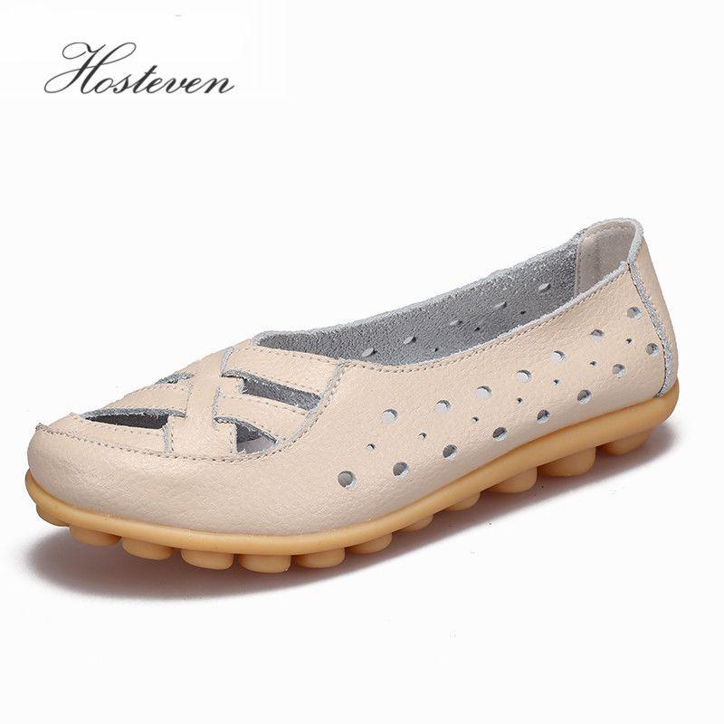 Hosteven chaussures pour femmes appartements femmes mocassins dames chaussures sans lacet ballerines véritable chaussures en cuir de vache chaussures