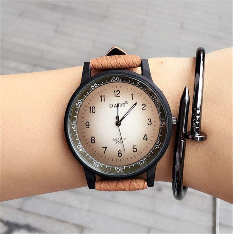 2016 Новая Мода часы унисекс Британский Стиль Кварцевые часы Повседневное высокое качество Для женщин Для мужчин Популярные Кожаный ремешок ...