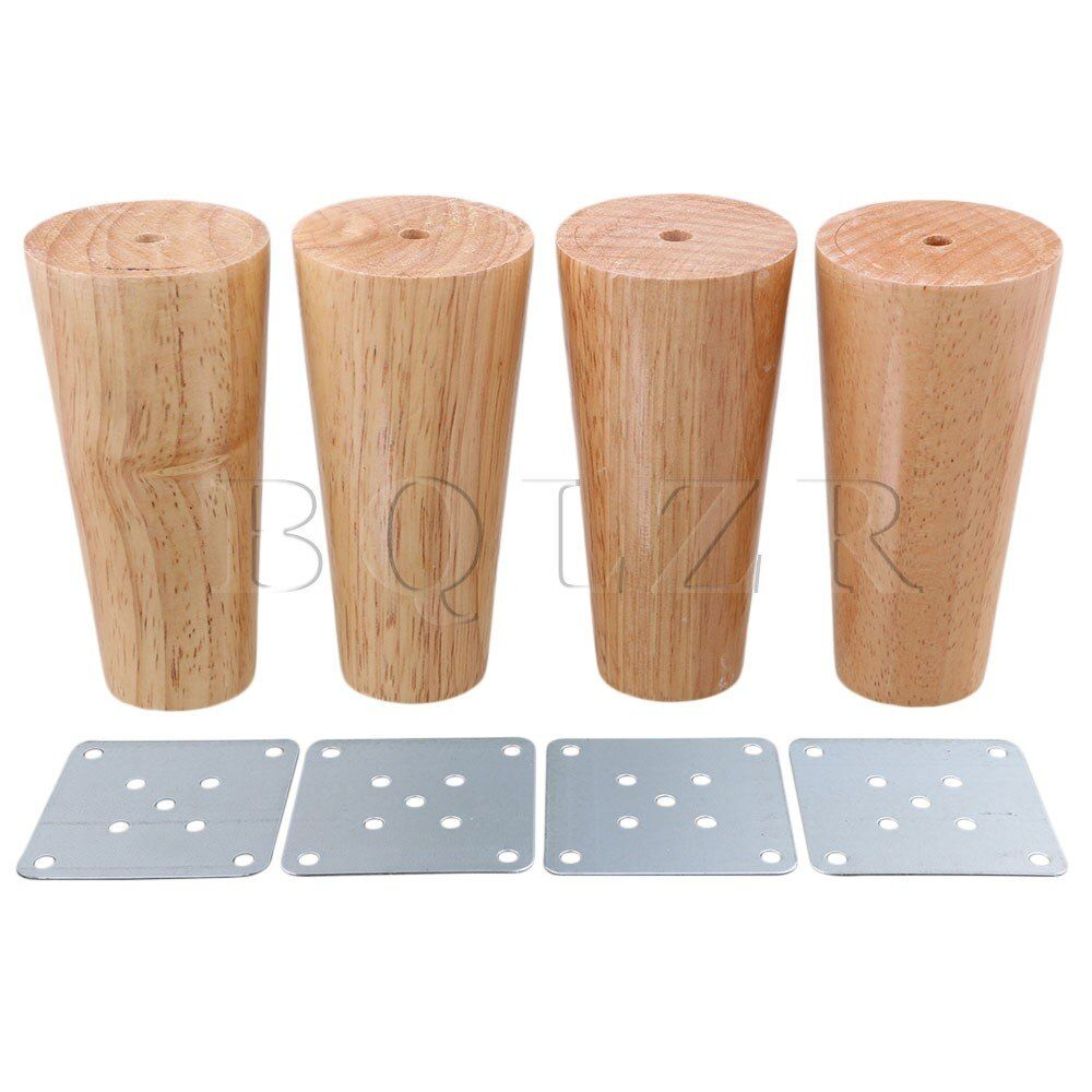 BQLZR 120x58x38mm Cone Wooden Material Sofa Chair Bed Cupboard Tea Table TV Cabinet Wooden Furniture Legs Feet Pack of 4