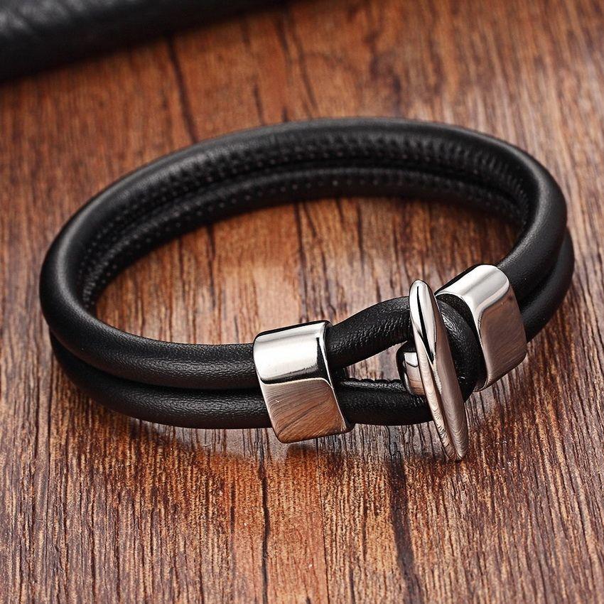 2017 Chaîne En Acier Inoxydable Bracelets Hommes Véritable Bracelets En Cuir Noir Couleur Bracelet En Cuir pour femmes avec À Bascule-fermoirs
