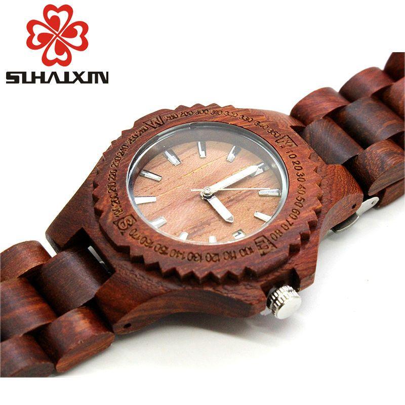 Wooden Watches Woman Quartz Wristwatch Branded Luxury Designer Ladies Bracelet With Backlight Watch Clock Gift Box SIHAIXIN 2018