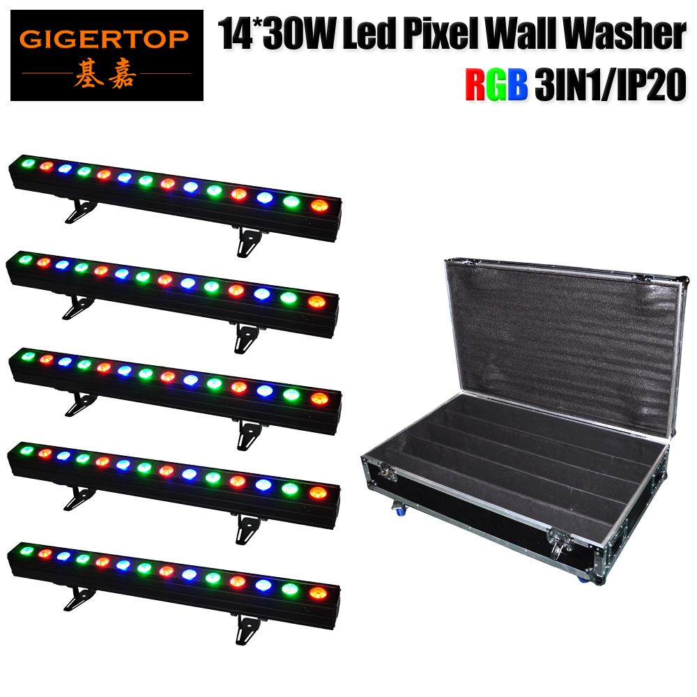 Wholesales Price 5in1 Roadcase Pack LED Wall Washer 14x30W COB RGB 3IN1 DJ Club Disco Bar DMX Light 100cm Length Aluminum house