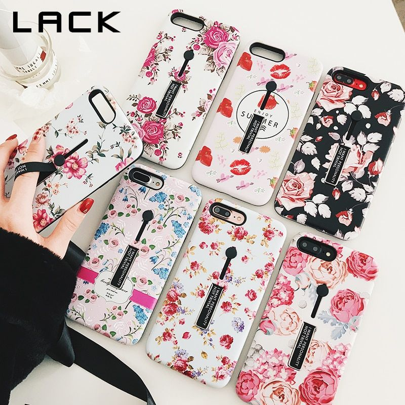 LACK Stretch Ring Stand Phone Case For iphone X Case For iphone 6S 6 7 8 Plus Fashion Retro Colorful Flowers Back Cover Cases