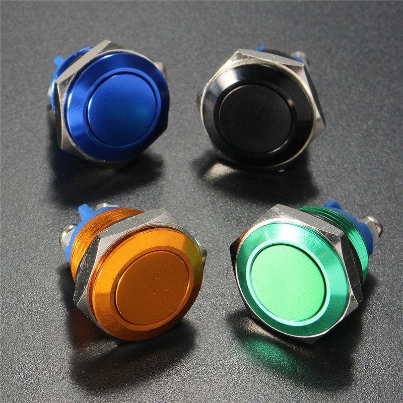 Metall Momentary AUF/AUS-Taste Horn Schalter 16mm Schwarz 12 V Förderung