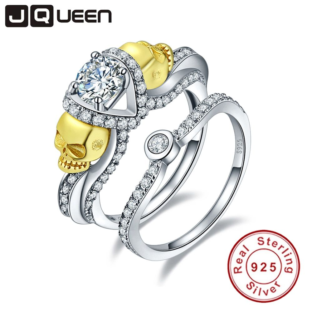 JQUEEN Brand Jewelry 1.25ct Cubic Zirconia Stone Skull Ring 925 Sterling Silver Rings for Women set <font><b>Wedding</b></font> Engagement Jewelry