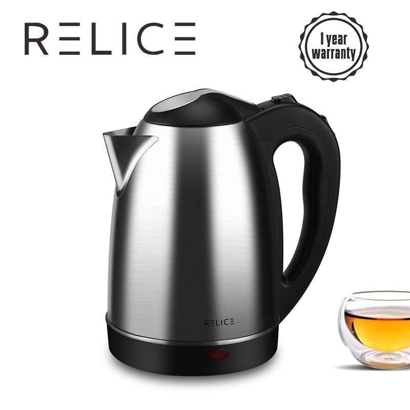 Relice Электрический чайник EK-201 автоматическое выключение чайники 1600 Вт Мощность 1.8L объем 304 Нержавеющаясталь корпус 360 вращение шнура 220 В