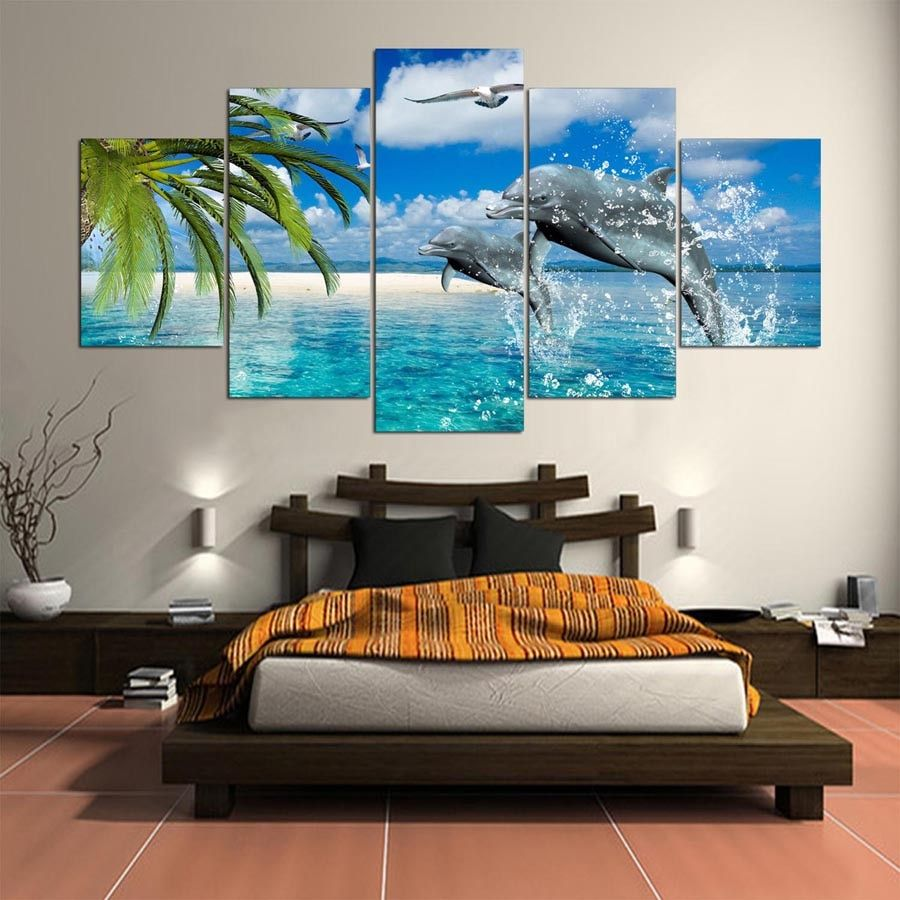 Home Decor Canvas Painting Top-Rated Modular Picture 5 Panel Animal Dolphin Landscape Painting Wall Picture For Living Room