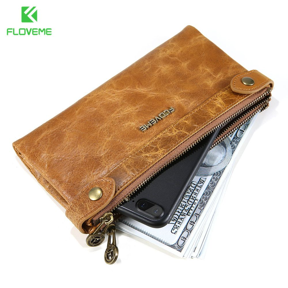 FLOVEME Genuine Leather Wallet Case For iPhone 6 6s Plus 7 7 Plus Case Cover Bag 5.5 inch Universal Moblie Phones Bag for Phone