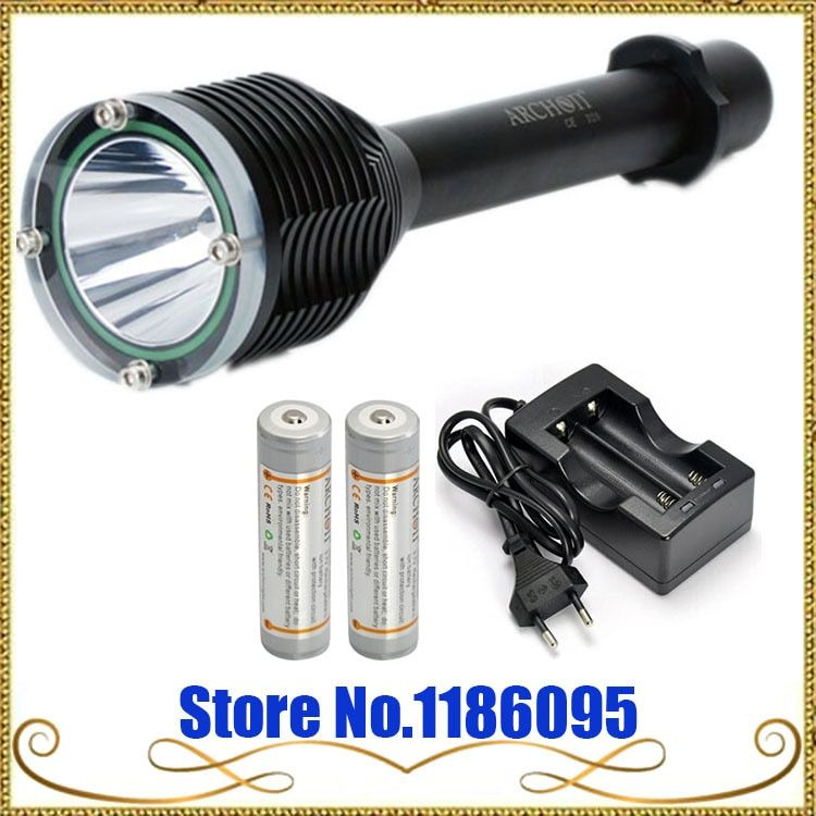 ARCHON D20 CREE XM-L T6 LED 1000 lm diving flashlight Torch diving 100 meters+ Charger+ 18650 Charge Battery(Sets)