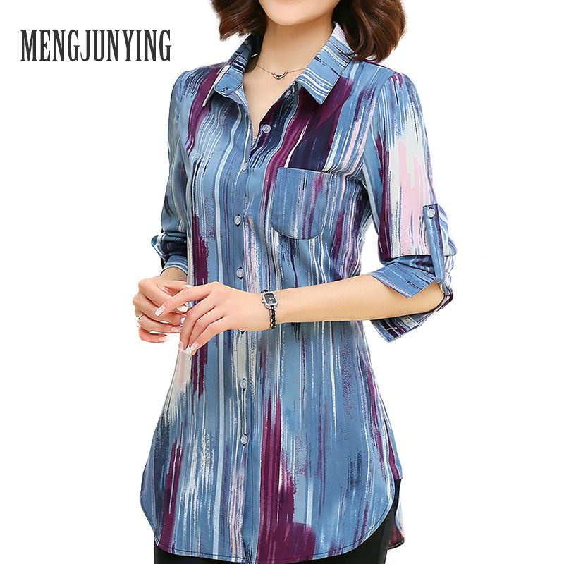 MJY Blouse Shirt 2017 fashion Print Women M-5XL Plus Size long sleeve Slim Blouse Office Work Wear shirts Tops Blusas Female 717