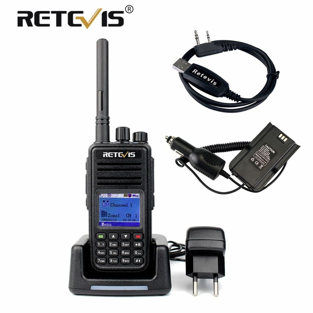 Retevis RT3 DMR Radio Digital Walkie Talkie VHF (or UHF) Encrypted GPS Ham Radio Hf Transceiver Two Way Radio+Battery Eliminator