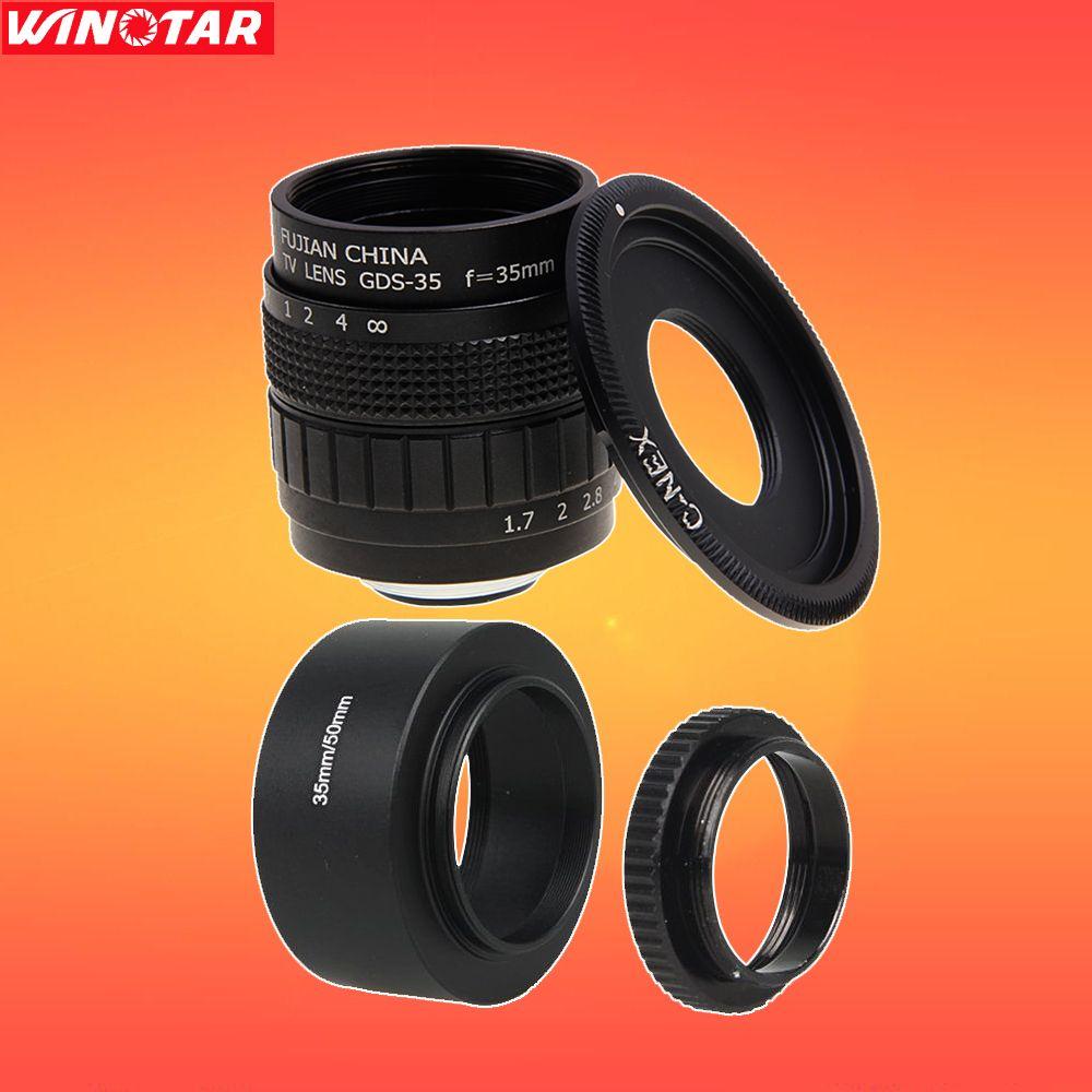 FUJIAN 35mm F1.7 CCTV Lens + C-NEX Mount + Lens Hood + Macro Ring for SONY E Mount A6500 A6300 A6000 NEX6 NEX7 NEX3 NEX5 NEX5T
