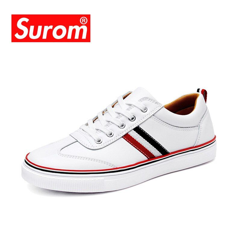SUROM High <font><b>Quality</b></font> Leather Casual White Shoes Mens Krasovki Brogue Shoes Loafers Man