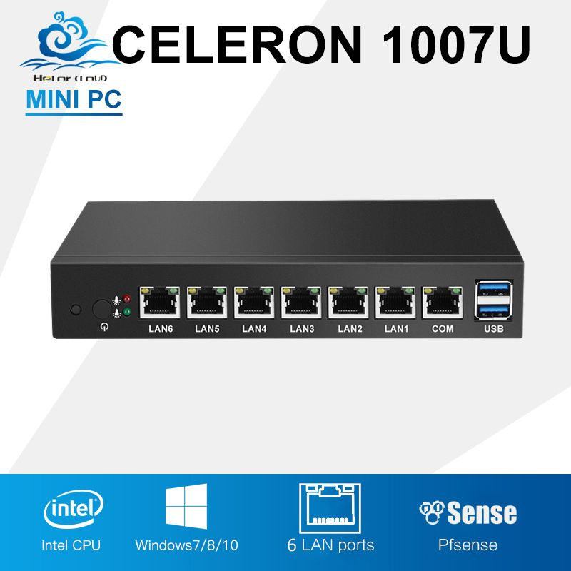 PfSense 6 Intel 82583 V Ethernet LAN Firewall del router Mini TARJETA de red del PC Celeron 1007U de Mini Escritorio de la Computadora Industrial Windows 10/8/7