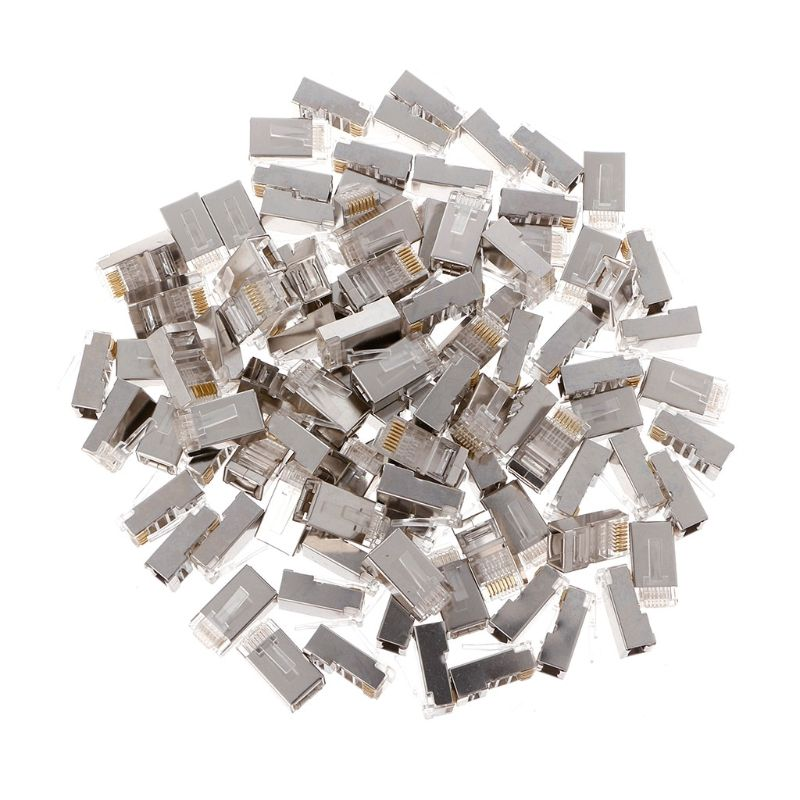 100Pcs Network Crystal Plug Cat6 8-Pin RJ45 8P8C Shielded Stranded Crimp Modular Plug Connector Socket