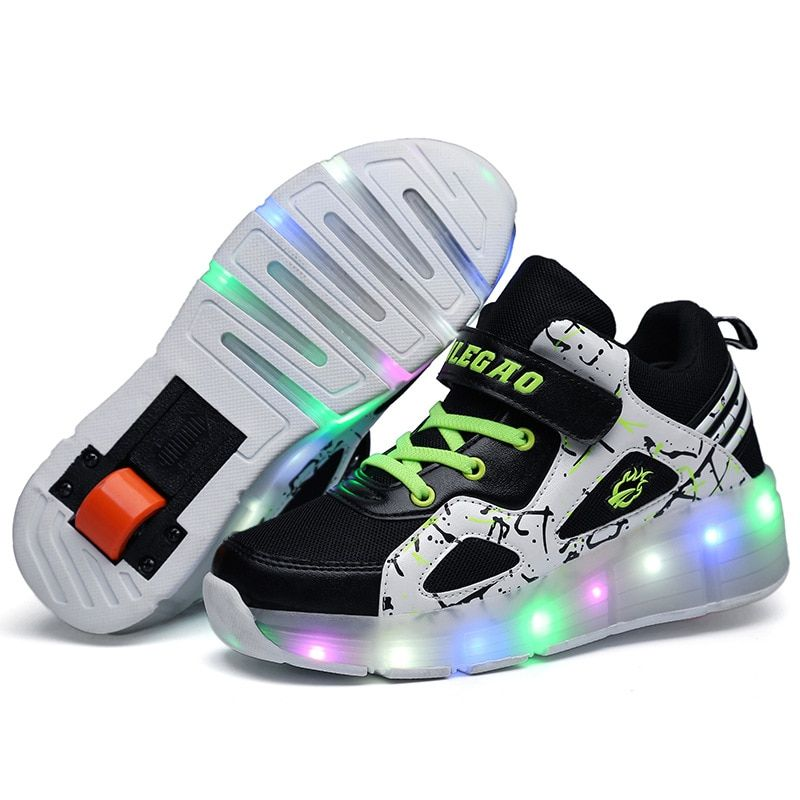 2018 New Pulley Shoes Children's Single Wheel Shoes Boys and Girls Light Running LED Flash Shoes