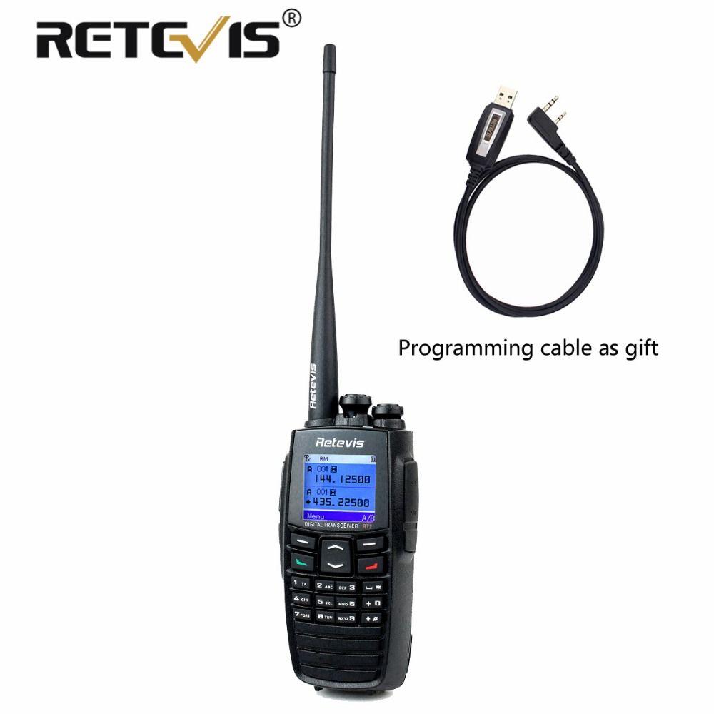 DPMR (GPS) Digital Walkie Talkie Retevis RT2 VHF UHF Dual Band 5W 256CH Scrambler VOX Ham Radio Digital/Analog 2 Modes+USB Cable