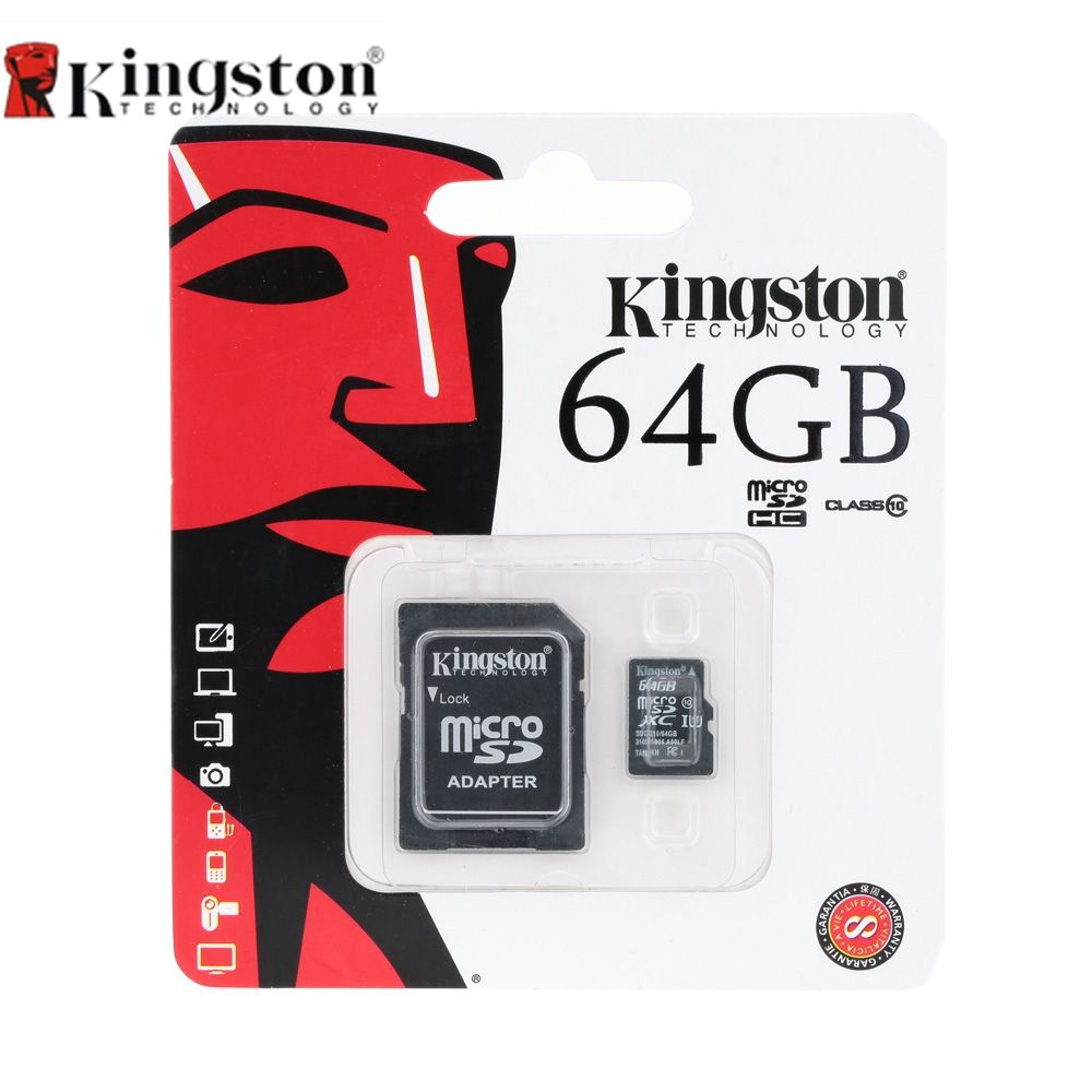 Kingston Classe 10 8 GB 16 GB 32 GB 64 GB Micro SD Carte 64 GB 32 GB 16 GB 8 GB TF Carte Mémoire Flash Microsd Avec Adaptateur De Carte