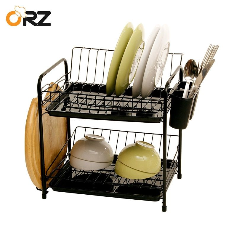 ORZ 2 Layers Kitchen Dish Shelf Plate Rack Drain Bowl Cutlery Cup Holder Dish Drainer Drying Rack With Tray Kitchen Organizer