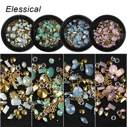 ELESSICAL Campuran Bentuk Opal Nail Resin Rhinestones Gems 3D Tip Bor Kuku Tembaga Charm Beads Studs Manicure Kuku Art Dekorasi