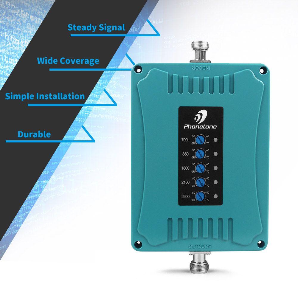 4g signal booster Zellulären Signal Verstärker 3G 850/LTE 700/4G 1800/UMTS 2100/2600 MHz 2G 3G 4G Fünf Band Handy Repeater