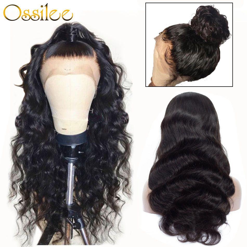 360 perruque frontale en dentelle pré plumée avec des cheveux de bébé brésilien vague de corps perruques de cheveux humains Ossilee Remy cheveux dentelle frontale perruques