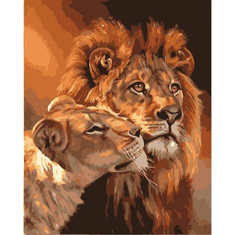Peinture par numéros bricolage livraison directe 40x50 50x65cm grand et petit Lion Animal toile mariage décoration Art photo cadeau