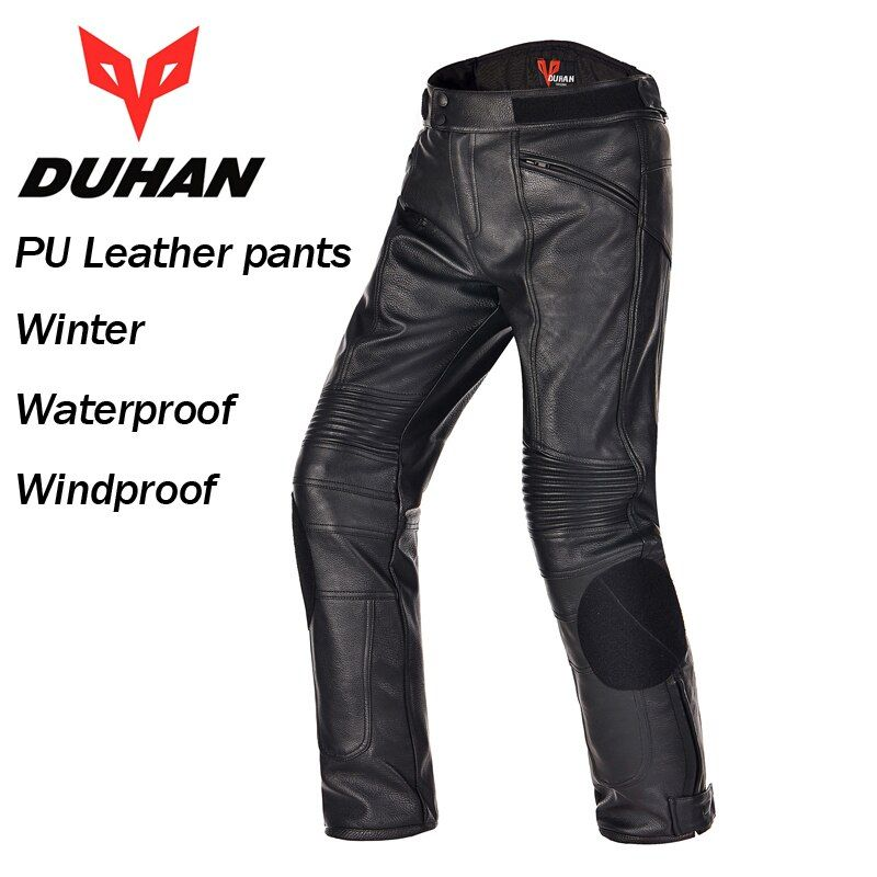 DUHAN Men's PU Leather Motor Racing Waterproof Windproof Pants Motorcycle Riding Protective Trousers
