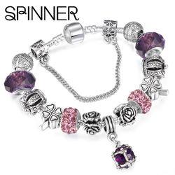 SPINNER Европейский стиль винтажная Посеребренная блестящая браслет для женщин подходит к оригиналу DIY Pandora браслет ювелирный подарок