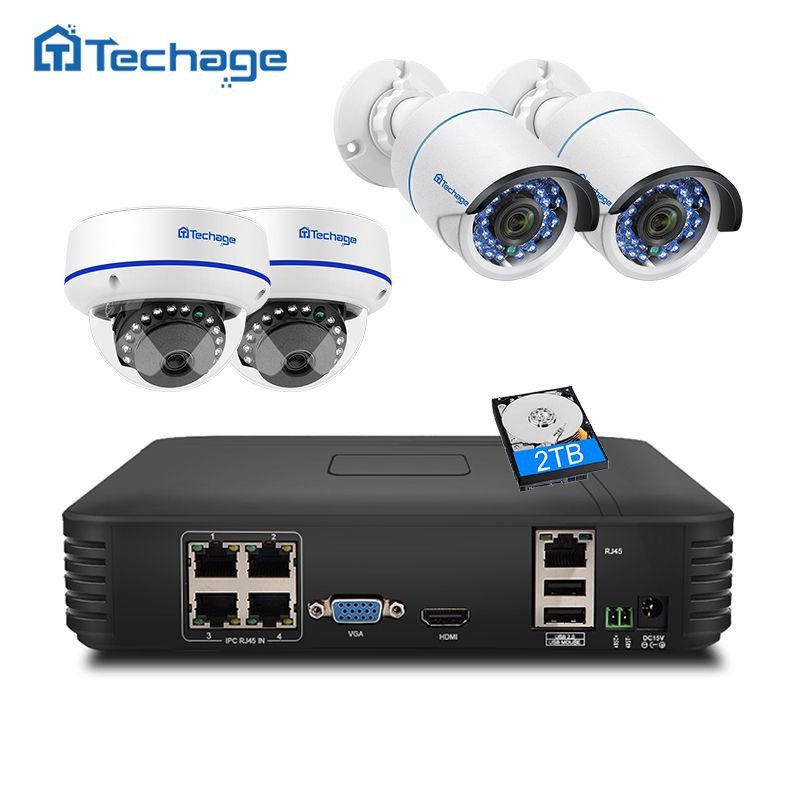 <font><b>Techage</b></font> CCTV Security System 4CH 1080P POE NVR 2MP Outdoor Indoor Dome POE IP Camera IR Night P2P Video Surveillance Set 1TB