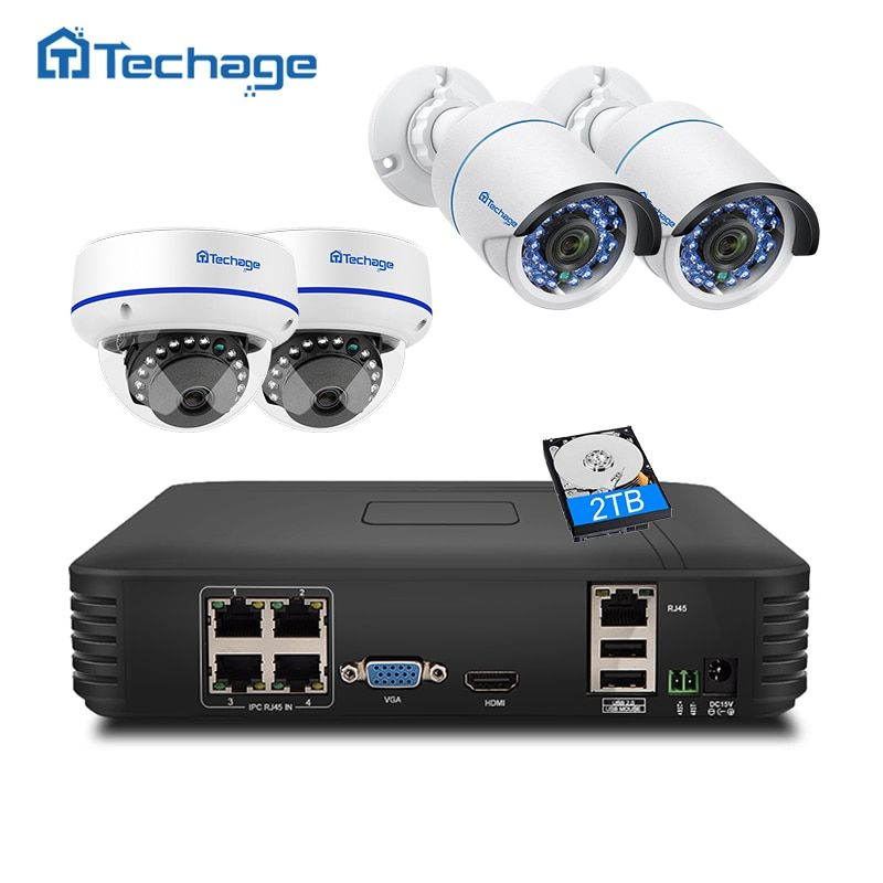 Techage CCTV Security System 4CH 1080P POE NVR 2MP Outdoor Indoor Dome POE IP Camera IR Night P2P Video Surveillance Set 1TB