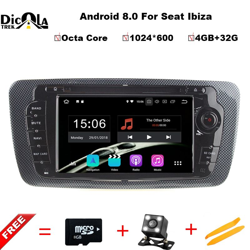 Octa Core 2 Din Android 8.0 Car DVD GPS navigation autoradio for Seat Ibiza 2009 2010 2011 2012 2013 4GB RAM 32GB ROM Free Map