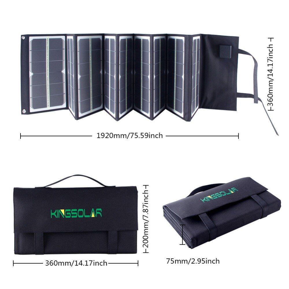Factory 80Watt portable Folding car battery solar panel charger with fluorescence for laptop,battery,phone,tablet