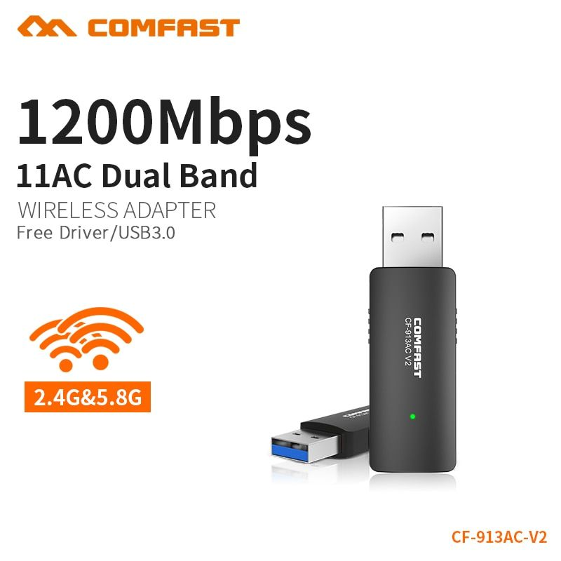 COMFAST Wifi Adapter 1200Mbps Usb3.0 Mini & Portable 2.4G + 5.8G Wireless Wifi Receiver For PC Laptop Windows XP 7 8 10 CF-913AC