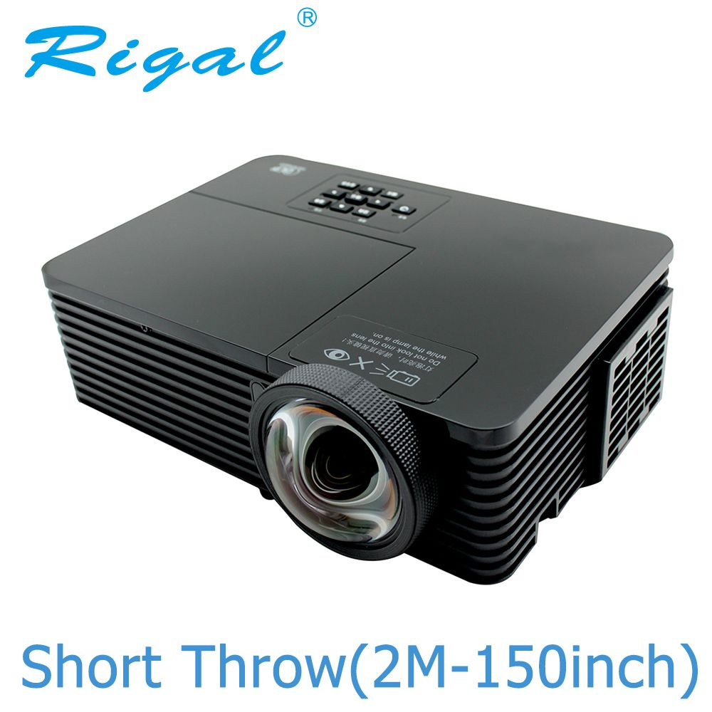 Rigal RD811 DLP Projector 6000 Ansi Lumens HD 1080P Short Throw Projector Active Shutter 3D Meeting Education Daylight Beamer