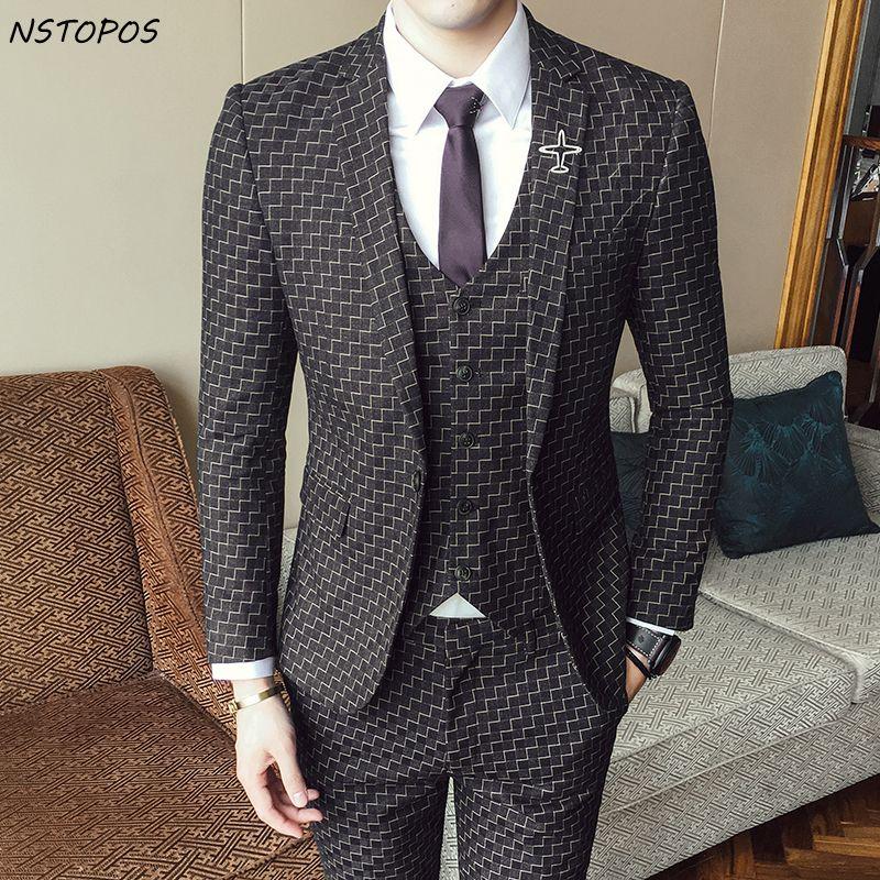Überprüfen Anzüge Für Männer 3 Stück Hochzeitsanzug 2017 Herbst Winter Vintage Plaid Anzüge Für Männer Kostüm Homme Slim Fit Swallow Gird anzug
